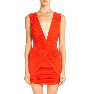 Balmain Ruched Coral Mini Dress
